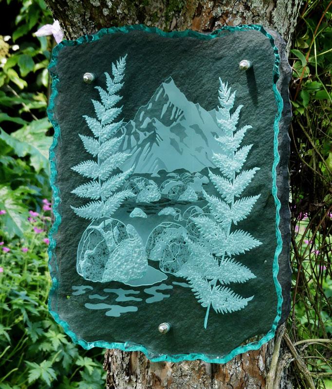 Engraved Glass Slate Garden Art Sculpture Newzealand Tim Carter