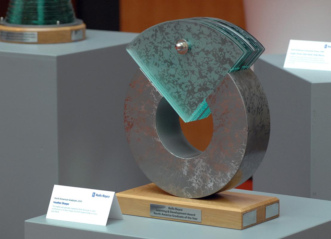 Glass Steel Sculpture Award American Graduate Tim Carter