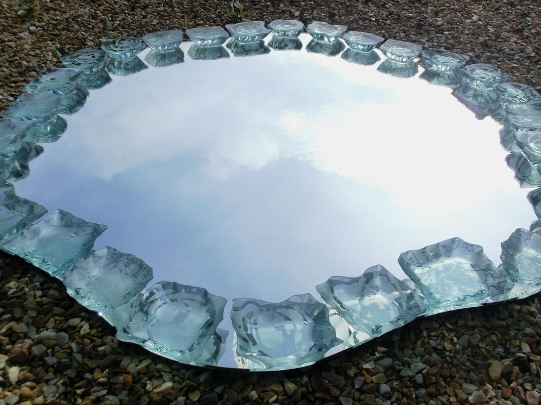 Mirror Decorative Irregular Glass Sculpture Etched Tim Carter