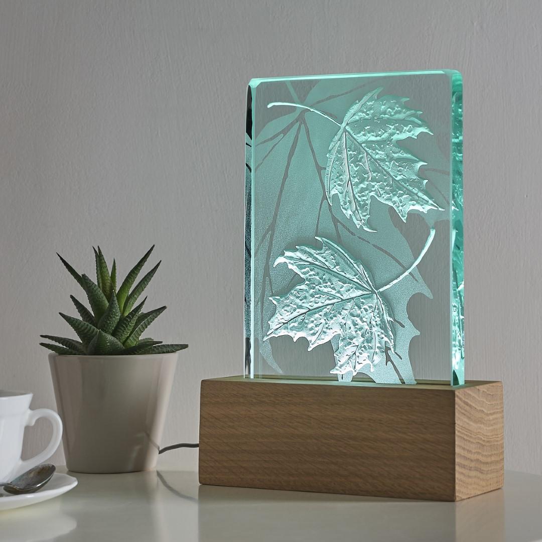 Engraved sandblasted leaves on glass oak wood table light with LED lighting by Tim Carter