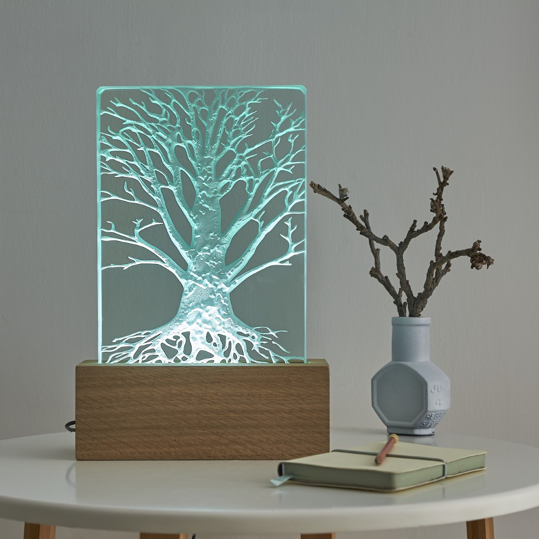 Engraved sandblasted tree on glass oak wood table light with LED lighting by Tim Carter